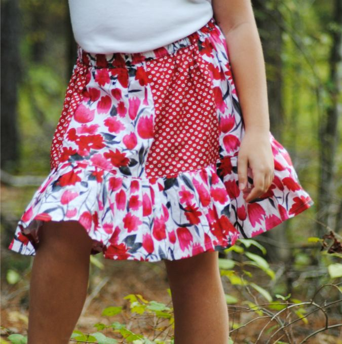 Free paneled skirt sewing pattern for girls