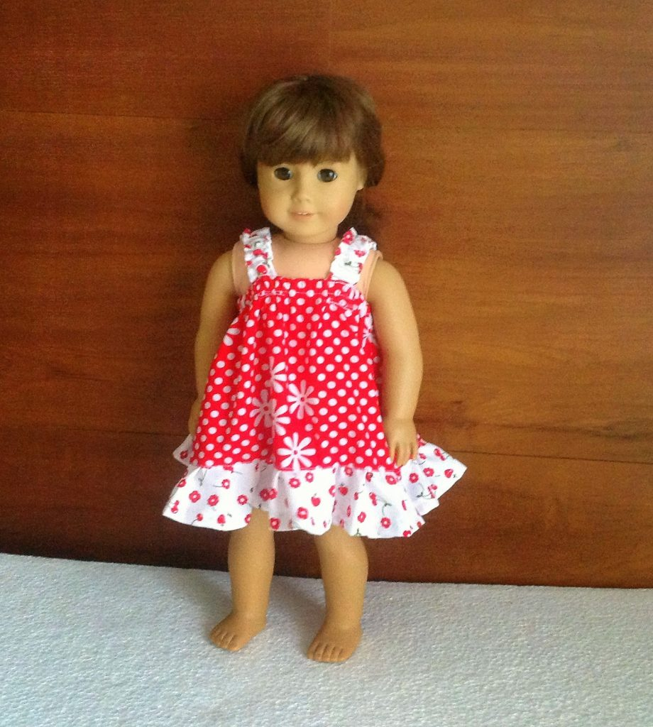 This is the simplest sundress sewing pattern for your little girl's 18 Inch American Doll.