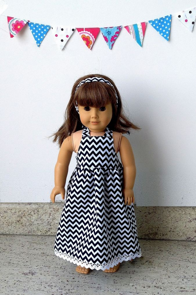 American 18 inch doll dress sewing pattern with options for sewing as a midi and maxi dress