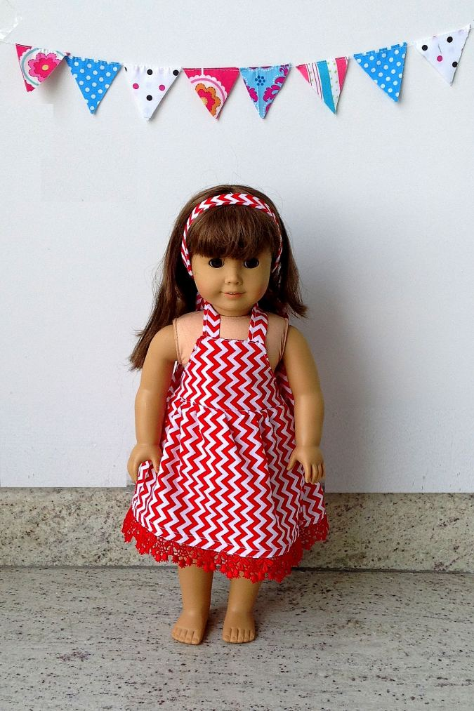 Simple and quick midi/maxi dress sewing pattern for 18 inch American dolls. Easy to put together and easy for on and off.
