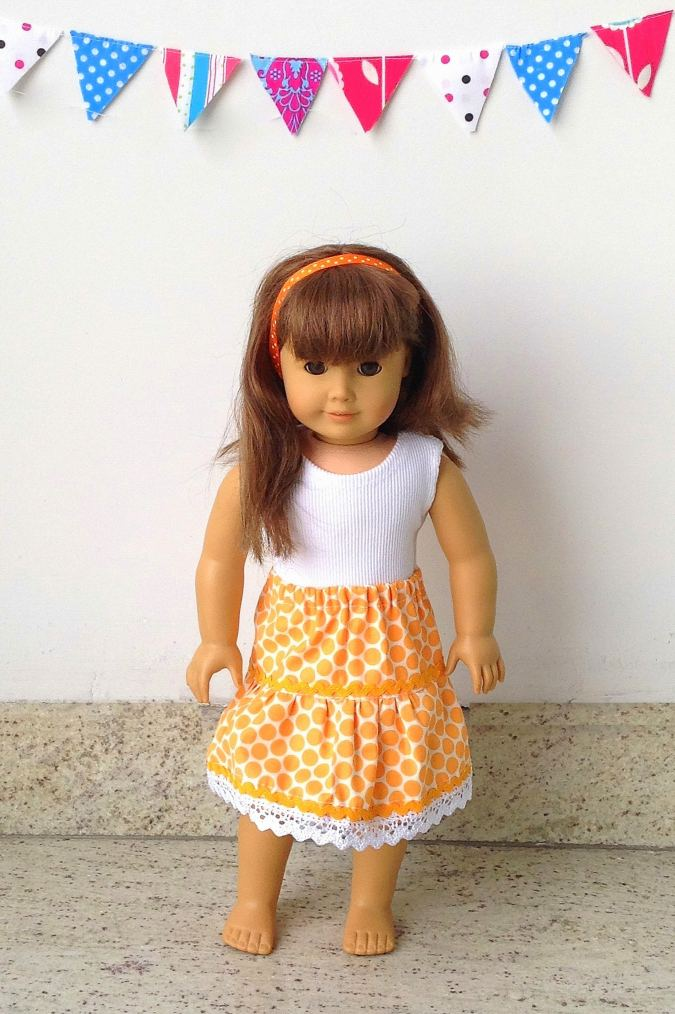 This is a tiered skirt pattern for 18 inch American doll.