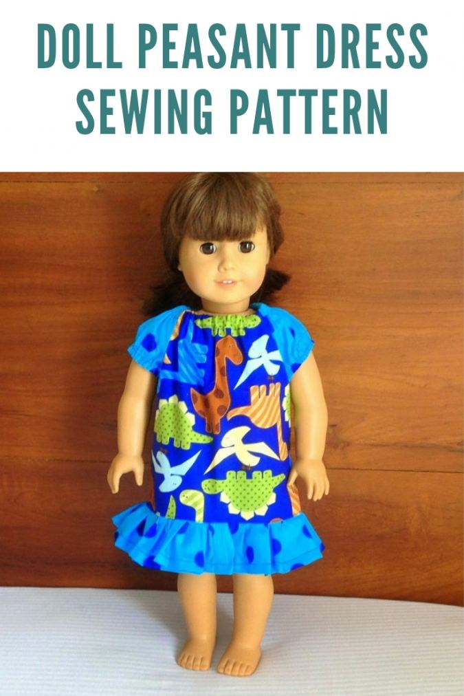 Peasant dress sewing pattern for AG dolls.