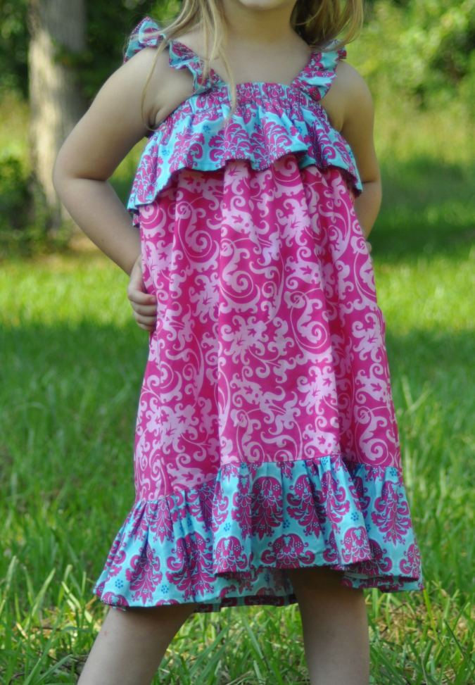Easy dress sewing pattern for girls.