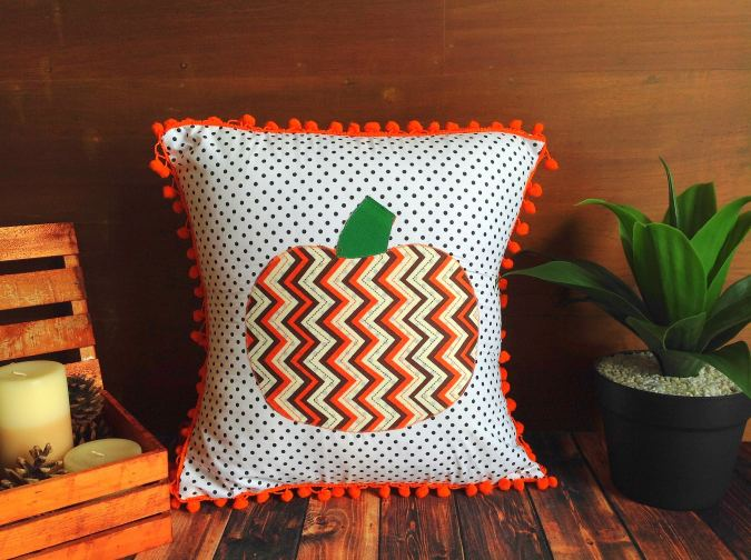 Easy Fall Pillow with Pumpkin Applique